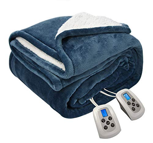 MARQUESS Electric Blanket MicroPlush Sherpa and Reversible Flannel Washable Comfortable with 10 Heat Settings/Safety 10 Hours Auto-Off Controller King with 1 Year Warranty(100 x 90'' Navy Blue)