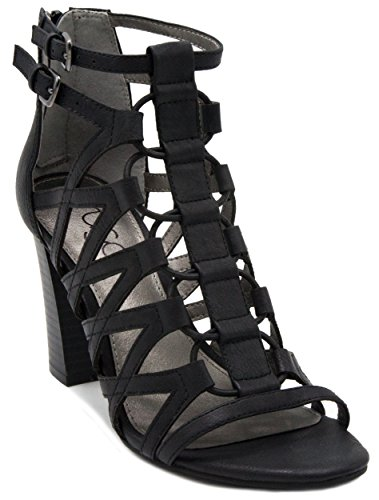 Image of Sugar Women's Estes Strappy Stylish Heeled Sandal with Buckles and Elastic Bungee Center
