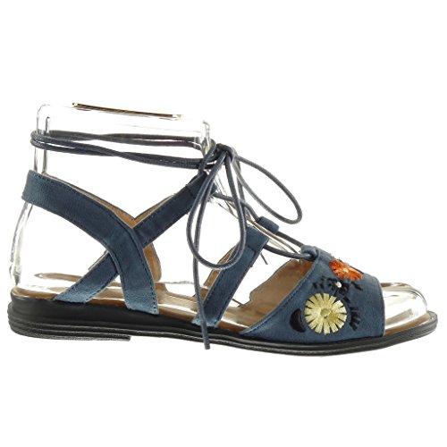 Angkorly - Chaussure Mode Sandale spartiates ouverte femme lanière fleurs brodé Talon bloc 2 CM - Bleu