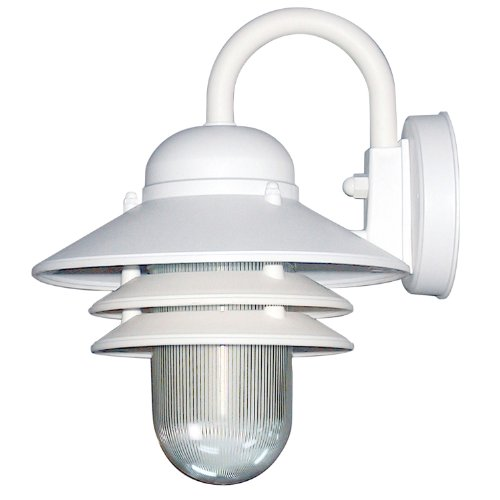 (Sunlite 47202-SU DOD/NC/WH/CL/MED Decorative Outdoor Nautical Collection Polycarbonate Fixture, White Finish, Clear Lens)