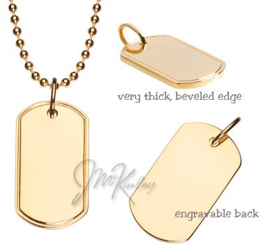 Amazoncom Gold Plated Small Dog Tag with Beveled Edges Chain