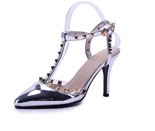 AmoonyFashion Womens Pointed Closed Toe High-Heels Solid Buckle Pumps-Shoes Silver X22RmP2