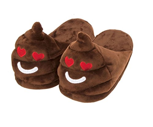 Emoji New Mens Adults Emoticon Poo 3D Slip On Stuffed Plush Slippers Love bYC4UWbsjP