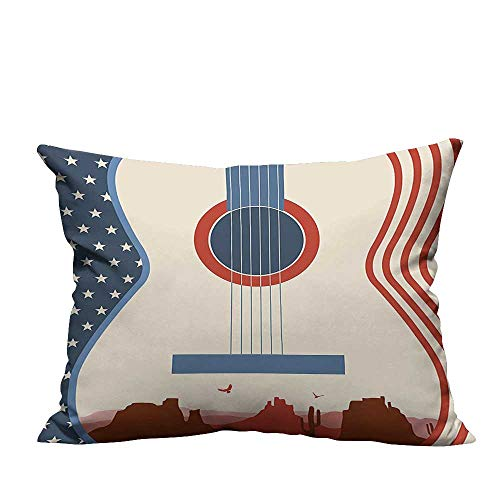 YouXianHome Super Soft Pillowcase Country Music Festival Event Illustration Guitar with American Flag Design Inspiration Cre Resists Wrinkles(Double-Sided Printing) 13.5x19 inch