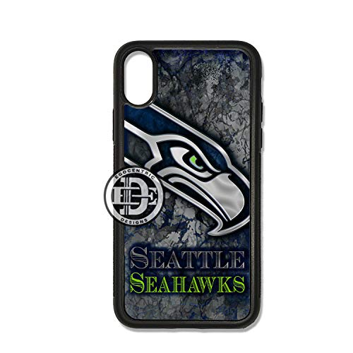 ((iPhone X) EGOCENTRIC DESIGN & CO. Seahawks Football Sports Art TPU Rubber Silicone Phone Case)