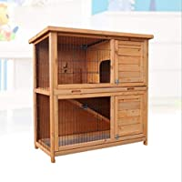 IKevan_ Natural Wood Rabbit Cage (Shipping from USA), Outdoor Wooden Rabbit Hutch Pet Cage with Run Asphalt Roof Bunny Animal House for Rabbits and Other Small Animals, 36 x 31.5 x 17.7 Inches