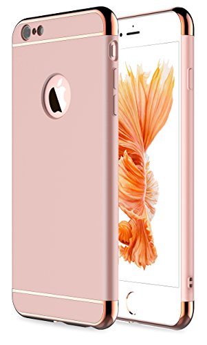 iPhone 6 Case, iPhone 6s Case,RORSOU 3 in 1 Ultra Thin and Slim Hard Case Coated Non Slip Matte Surface with Electroplate Frame for Apple iPhone 6 (4.7) and iPhone 6S (4.7) - Rose Gold