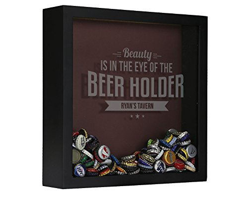 Personalized Beer Cap Shadow Box, Bottle Cap Collector, Engraved, Beauty Is in the Eye of the Beer Holder (Shadow Cap Box Bottle)
