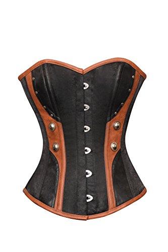 製作仲人あえぎBlack Satin Brown Leather Gothic Steampunk Bustier Waist Cincher Overbust Corset