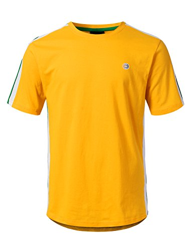 Yellow Side Panels - URBANCREWS Mens Hipster Hip Hop 3 Stripe Side Panel Jersey T-Shirt Yellow, L