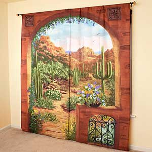Outdoor Scenic View Curtains, Desert Garden