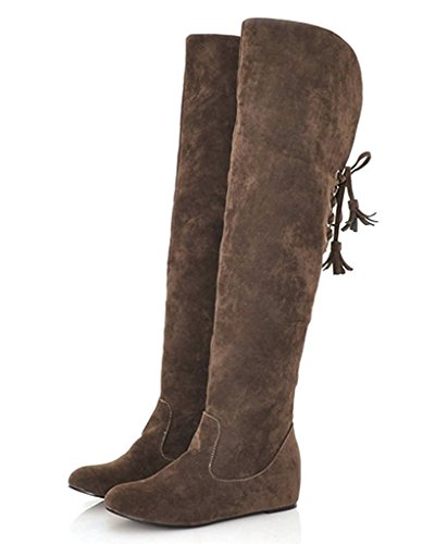 Minetom Women Winter Fashion Warm Snow Boots Wedge Fur High Boots Flat Overknee Boots Brown