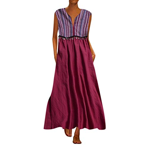 WEISUN Women Elegante Dress Vintage Daily Casual Sleeveless Striped Printed V-Neck Summer Maxi Dress Wine