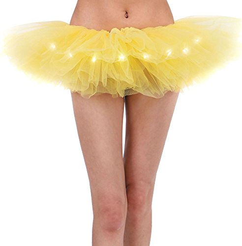 Yellow Tutu Women's LED Light Up Neon Tulle Tutu Stage Show Club Dress,Yellow