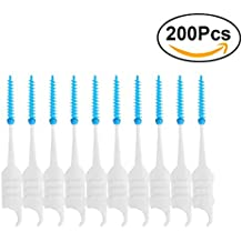 ULTNICE 200pcs Dental Floss Interdental Brush Teeth Stick Toothpick Soft Silicone Double-ended Tooth Picks