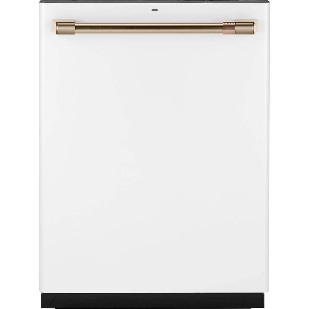 "GE Cafe 24"" Fully Integrated Dishwasher with 140 Cleaning Jets and Wi-Fi Connect - Matte White with Bronze Handle CDT866P4MW2"