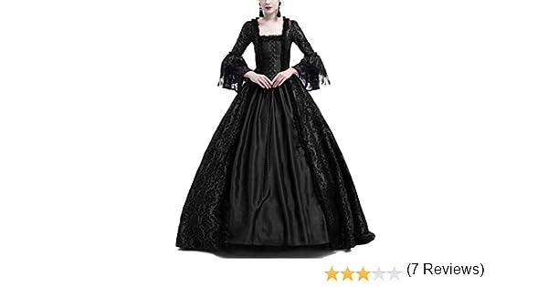 Vestido De Encaje De Manga Larga para Mujer Disfraz De Fiesta Medievales Adultos Maxi