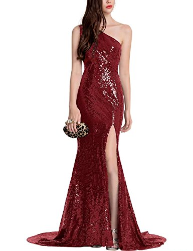 Sequin Divisé Robes De Demoiselle D'honneur Une Robes De Soirée De Bal De L'épaule Ainidress Rouge