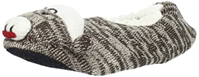 Muk Luks Women's Monkey Slippers, Brown, Large( 9-10 1/2 )