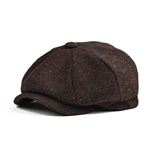 BOTVELA Men's Premium Wool Classic Flat Ivy Newsboy Cap Herringbone Pattern Flecked Hat (Brown, ()