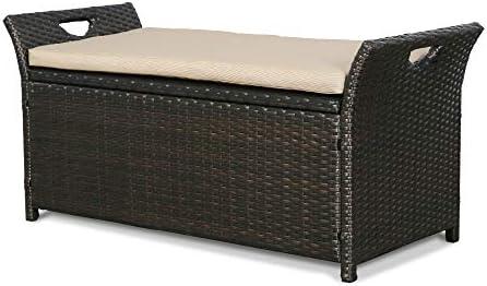 Iwicker Patio Wicker Storage Bench Outdoor Rattan Deck Box