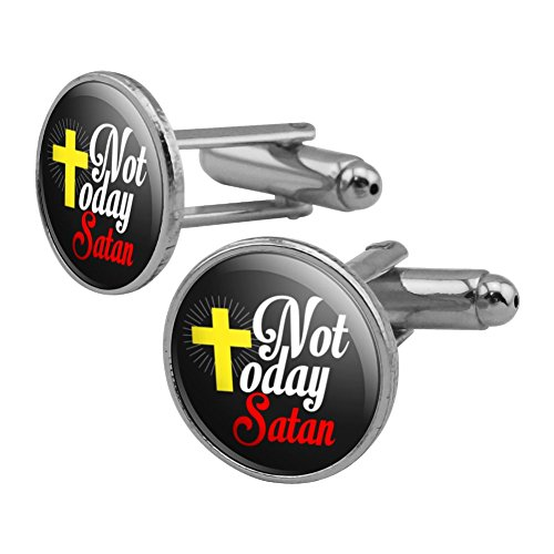 Religious Cross Cufflinks - Not Today Satan Cross Christian Religious Round Cufflink Set Silver Color