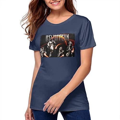 MoniqueABeech Woman's Led Zeppelin Vintage Shirts Music Band T-Shirt Navy (Vintage Led Zeppelin Band)