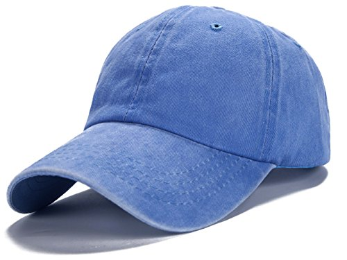 Edoneery Men Women Cotton Adjustable Washed Twill Low Profile Plain Baseball Cap Hat(Light Blue)