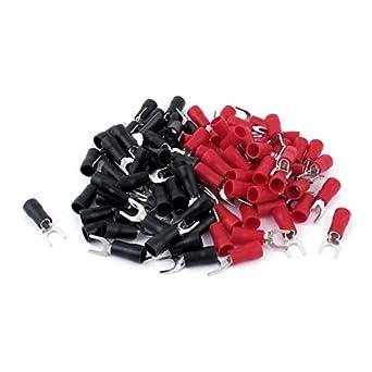 Terminales de horquilla de calibre 0 5 Par Rojo Negro 0 AWG 10 terminales