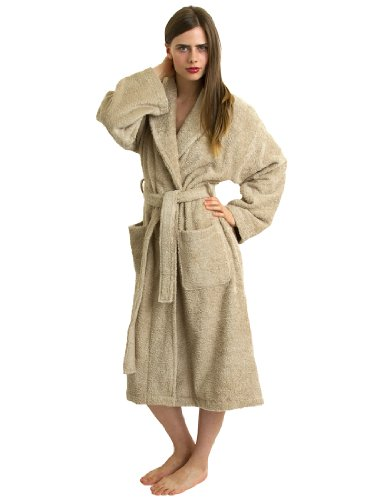TowelSelections Turkish Terry Bathrobe - 100% Egyptian Cotton, Shawl Collar Terry Robe for Women and Men, Made in Turkey (Taupe, L/XL)