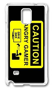 MOKSHOP Adorable caution angry gamer Hard Case Protective Shell Cell Phone Cover For Samsung Galaxy Note 4 - PC Transparent