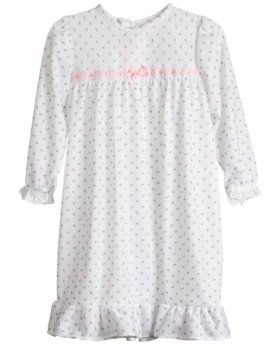 Laura Dare Little Girls Rosebud Jersey Long Sleeve Pajama Nightgown, 3T (Rosebud Outfit)