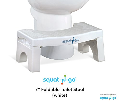 Squat N Go 7 Folding Squatting Stool | The Only Foldable Toilet Stool | Convenient and Compact - Great for Travel | Fits All Toilets, Folds for Easy Storage, Use in Any Bathroom | White Color |