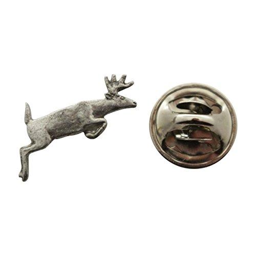 Sarah's Treats & Treasures Deer Leaping Mini Pin ~ Antiqued Pewter ~ Miniature Lapel Pin