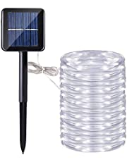 Manguera led solar, DINOWIN 72ft/22M 200leds Guirnaldas Luminosas Solares de Cuerda, Exterior led Luces decorativas (Blanco)