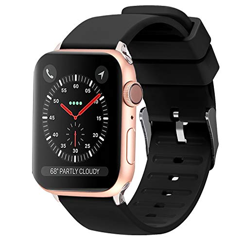 Lwsengme Compatible with Apple Watch Band 38mm 42mm 40mm 44mm, Choose Color-Soft Rubber Replacement iWatch Straps Compatible with Apple Watch Series 4 3 2 1 ()