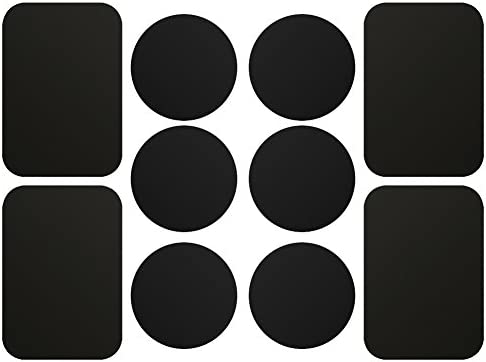 AJOXEL Metal Plate for Phone, [10 Pack] Replacement Mount Metal Plates Kits with 3M Adhesive Universal for All Magnetic Car Phone Holder Cradle Magnet Car Mount, (4 Rectangular and 6 Round), Black
