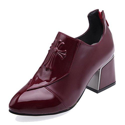 VogueZone009 Women's Pointed Closed Toe Kitten-Heels PU Solid Zipper Pumps-Shoes Claret guZYi8