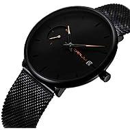 [Sponsored]Mens Minimalist Watch Ultra-Thin Case Analog Quartz Date Watches Black Milanese Mesh...