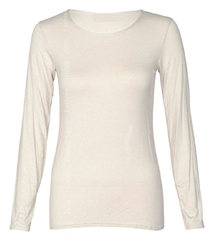 Cream Scoop Neck - Hot Hanger Womens Long Sleeve Plain Round Scoop Neck Top UK 8-26 (12-14 (ML), Cream)