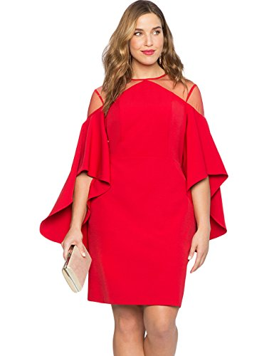 Women Mesh Cold Shoulder Bell Sleeves Mini Plus Size Fitted Dress Red XXL -