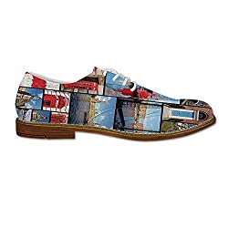 England Wear Resisting Leather Shoes,England City Red Telephone Booth Clock Tower Bridge River British Flag with Flowers for Men,US 12