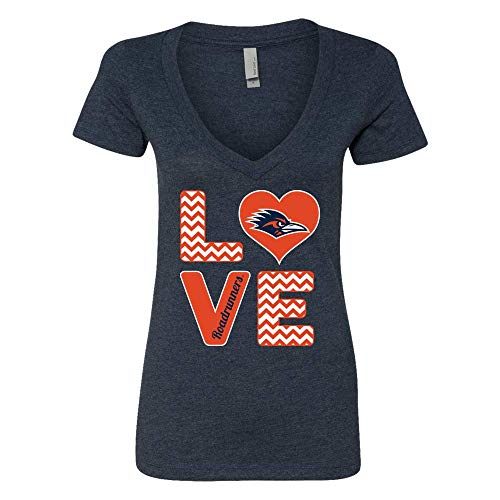(FanPrint Official Sports Apparel Women's V Neck T-Shirt UTSA Roadrunners Stacked Love, Size S, Heather Navy)