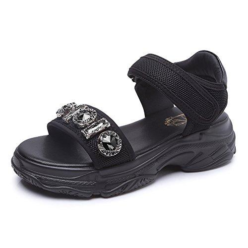 KPHY Joker white De Neto Diamante de 5Cm Fondo Grueso Tacon Mujer Gasa Medio Estudiantes Pretty Retro Sandalias Zapatos Zapatos De mujer r1qxRrwBZ