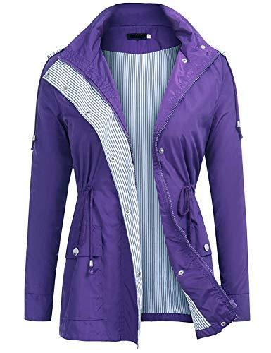 (UUANG Lightweight Waterproof Raincoat for Women Outdoor Hooded Rain Jacket (Purple,XL))