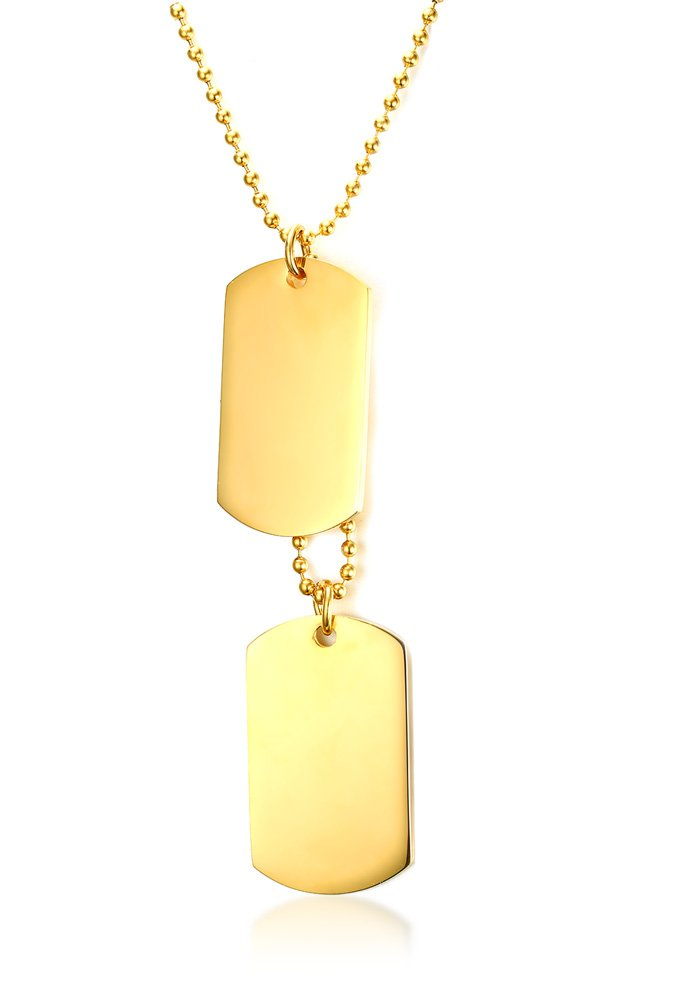 Mealguet Jewelry Stainless Steel Gold Plated Army Style Name Engravable Double Dog-tag Pendant Necklace for Men Boy,Gold Plated