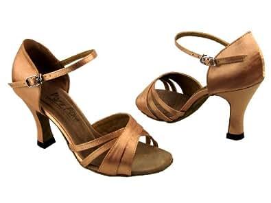 "Ladies Latin Ballroom Classic 6030 Brown Satin 3"" (5M)"