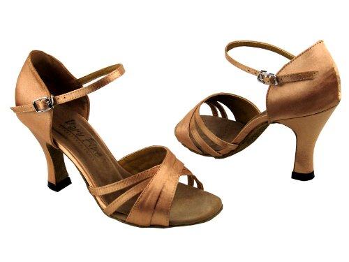 Dames Dames Ballroom Dansschoenen Voor Latin Salsa Tango Klassiek 6030 Bruin Satijn 3
