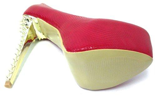 Sc7-1186 Dames Pumps Platform Stiletto Bezaaid Spike Hoge Hakken Mode Feestschoenen Zwart, Rood, Beige Rood