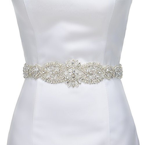 Remedios Handmade Rhinestone And Pearl Detail Satin Bridal Sash Wedding Belt For Women